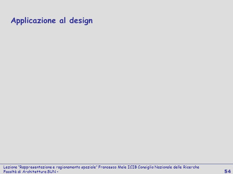 Lezione Rappresentazione e ragionamento spaziale Francesco Mele ICIB Consiglio Nazionale delle Ricerche Facoltà di Architettura SUN - 54 Applicazione
