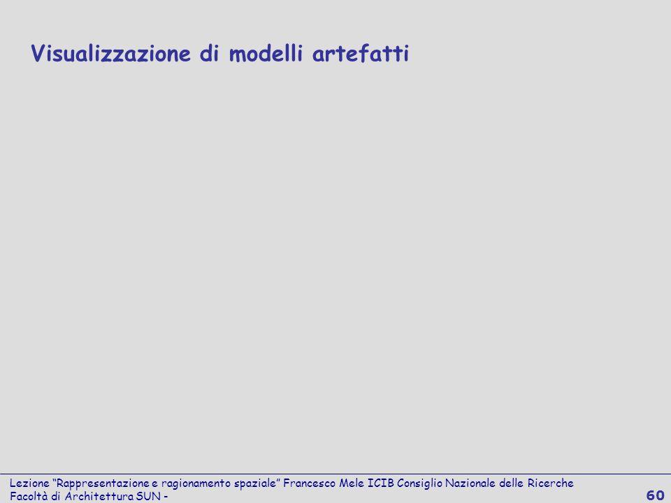 Lezione Rappresentazione e ragionamento spaziale Francesco Mele ICIB Consiglio Nazionale delle Ricerche Facoltà di Architettura SUN - 60 Visualizzazio