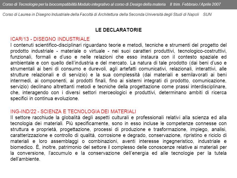LE DECLARATORIE Corso di Tecnologie per la biocompatibilità Modulo integrativo al corso di Design della materia II trim. Febbraio / Aprile 2007 Corso