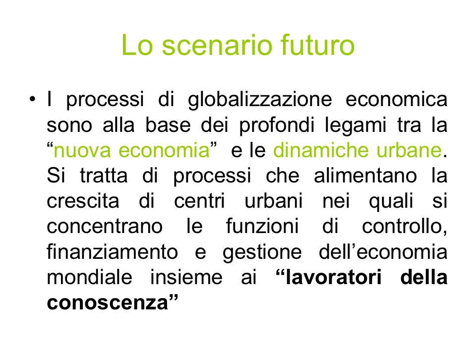 Lo scenario futuro I processi di globalizzazione economica sono alla base dei profondi legami tra lanuova economia e le dinamiche urbane.