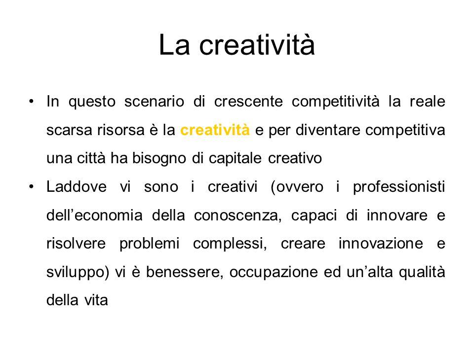 La creatività In questo scenario di crescente competitività la reale scarsa risorsa è la creatività e per diventare competitiva una città ha bisogno di capitale creativo Laddove vi sono i creativi (ovvero i professionisti delleconomia della conoscenza, capaci di innovare e risolvere problemi complessi, creare innovazione e sviluppo) vi è benessere, occupazione ed unalta qualità della vita