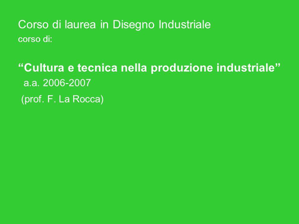 Corso di laurea in Disegno Industriale corso di: Cultura e tecnica nella produzione industriale a.a.