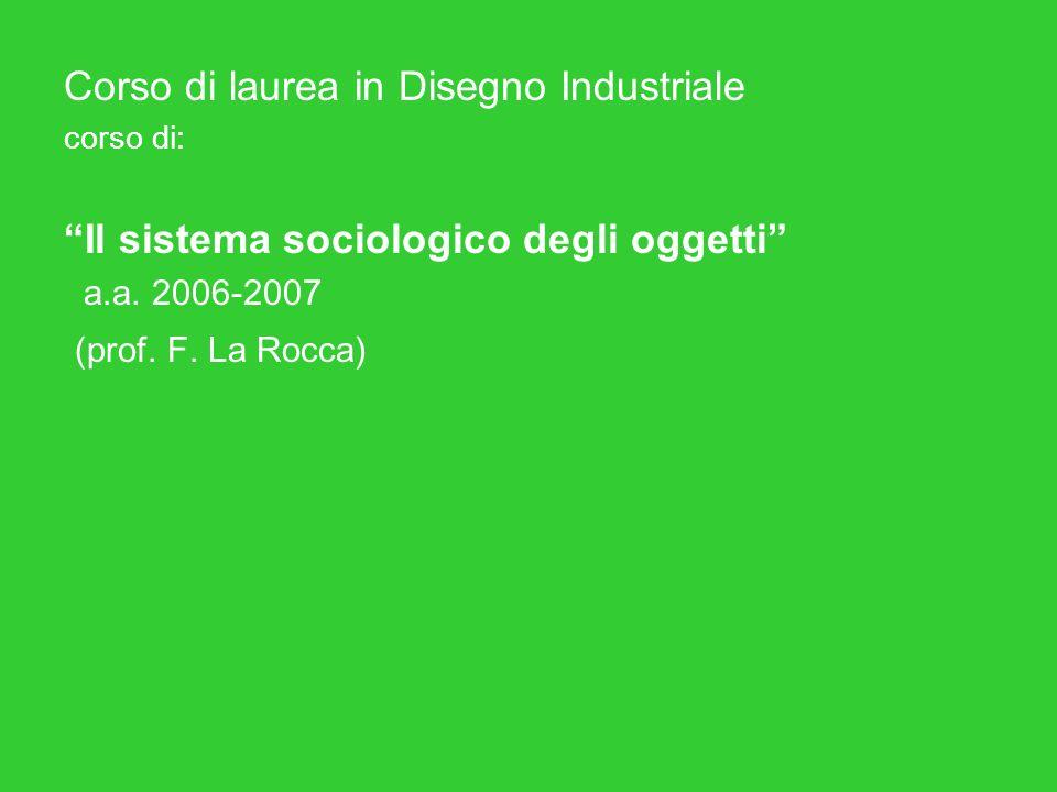 Corso di laurea in Disegno Industriale corso di: Il sistema sociologico degli oggetti a.a.