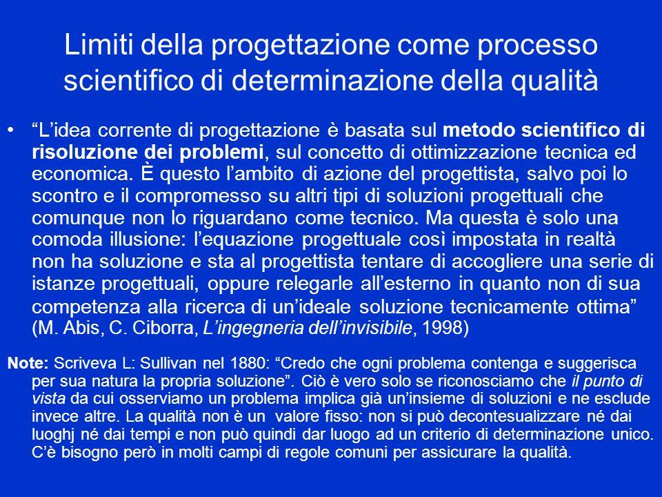 Limiti della progettazione come processo scientifico di determinazione della qualità Lidea corrente di progettazione è basata sul metodo scientifico di risoluzione dei problemi, sul concetto di ottimizzazione tecnica ed economica.