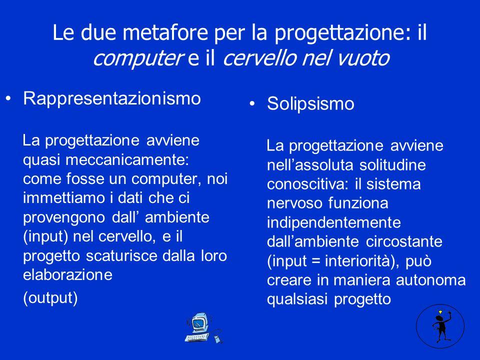 Le due metafore per la progettazione: il computer e il cervello nel vuoto Rappresentazionismo La progettazione avviene quasi meccanicamente: come fosse un computer, noi immettiamo i dati che ci provengono dall ambiente (input) nel cervello, e il progetto scaturisce dalla loro elaborazione (output) Solipsismo La progettazione avviene nellassoluta solitudine conoscitiva: il sistema nervoso funziona indipendentemente dallambiente circostante (input = interiorità), può creare in maniera autonoma qualsiasi progetto