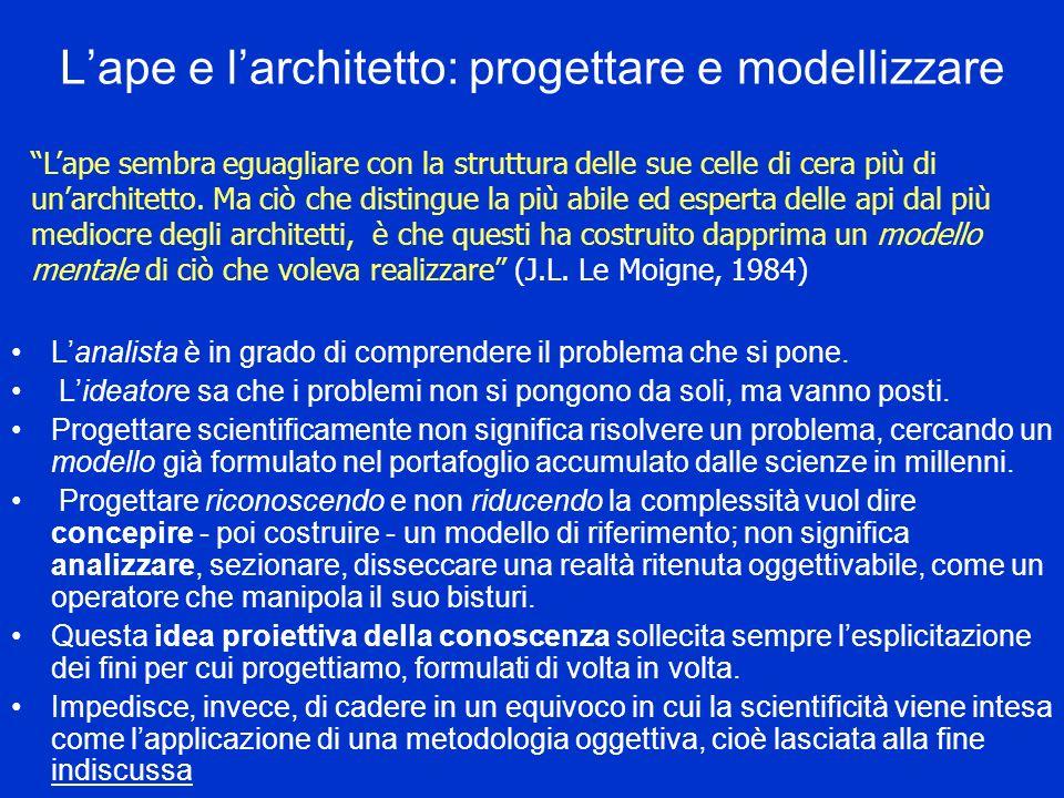 Lape e larchitetto: progettare e modellizzare Lanalista è in grado di comprendere il problema che si pone.