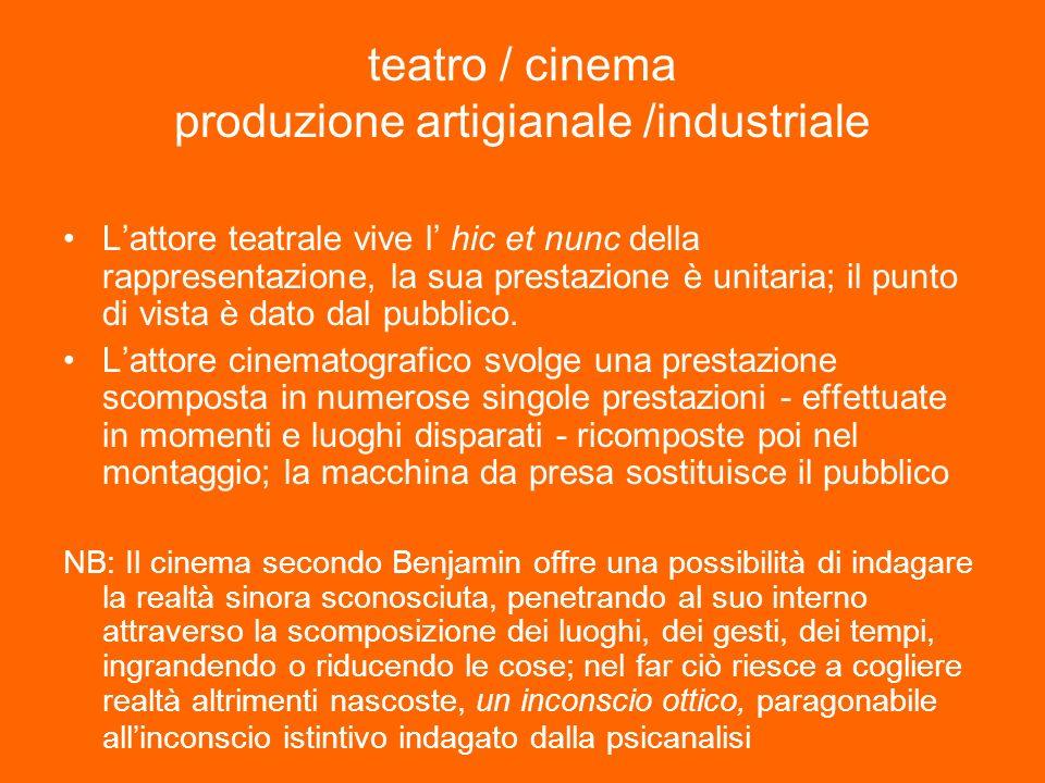teatro / cinema produzione artigianale /industriale Lattore teatrale vive l hic et nunc della rappresentazione, la sua prestazione è unitaria; il punto di vista è dato dal pubblico.
