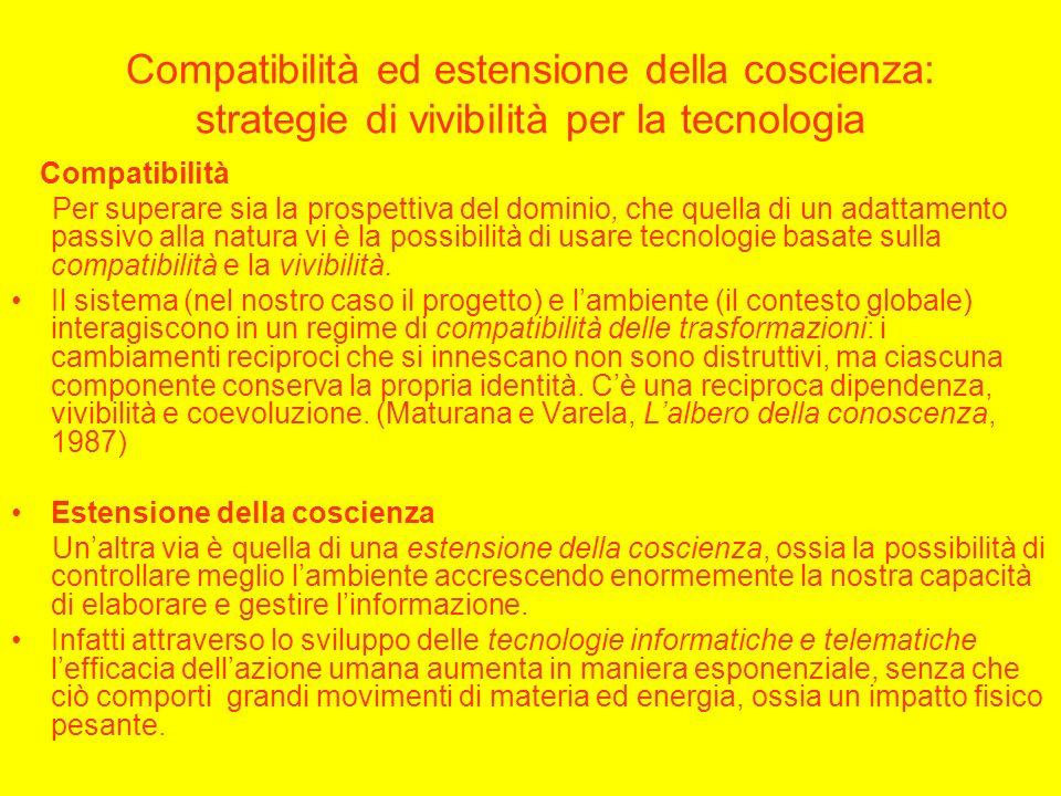 Compatibilità ed estensione della coscienza: strategie di vivibilità per la tecnologia Compatibilità Per superare sia la prospettiva del dominio, che quella di un adattamento passivo alla natura vi è la possibilità di usare tecnologie basate sulla compatibilità e la vivibilità.