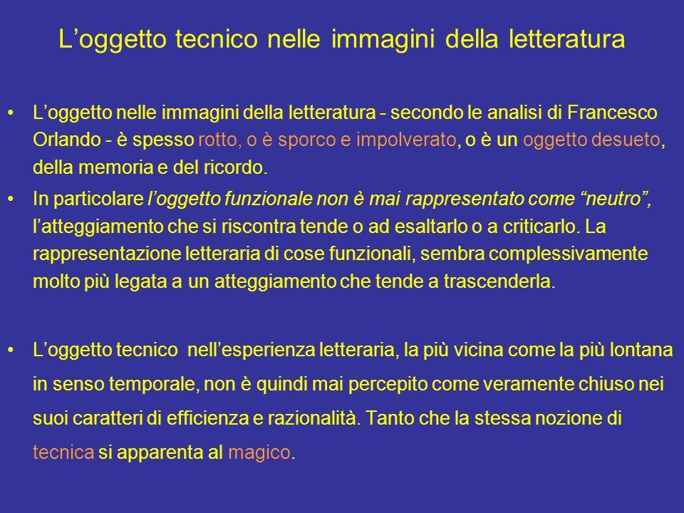 Loggetto tecnico nelle immagini della letteratura Loggetto nelle immagini della letteratura - secondo le analisi di Francesco Orlando - è spesso rotto, o è sporco e impolverato, o è un oggetto desueto, della memoria e del ricordo.