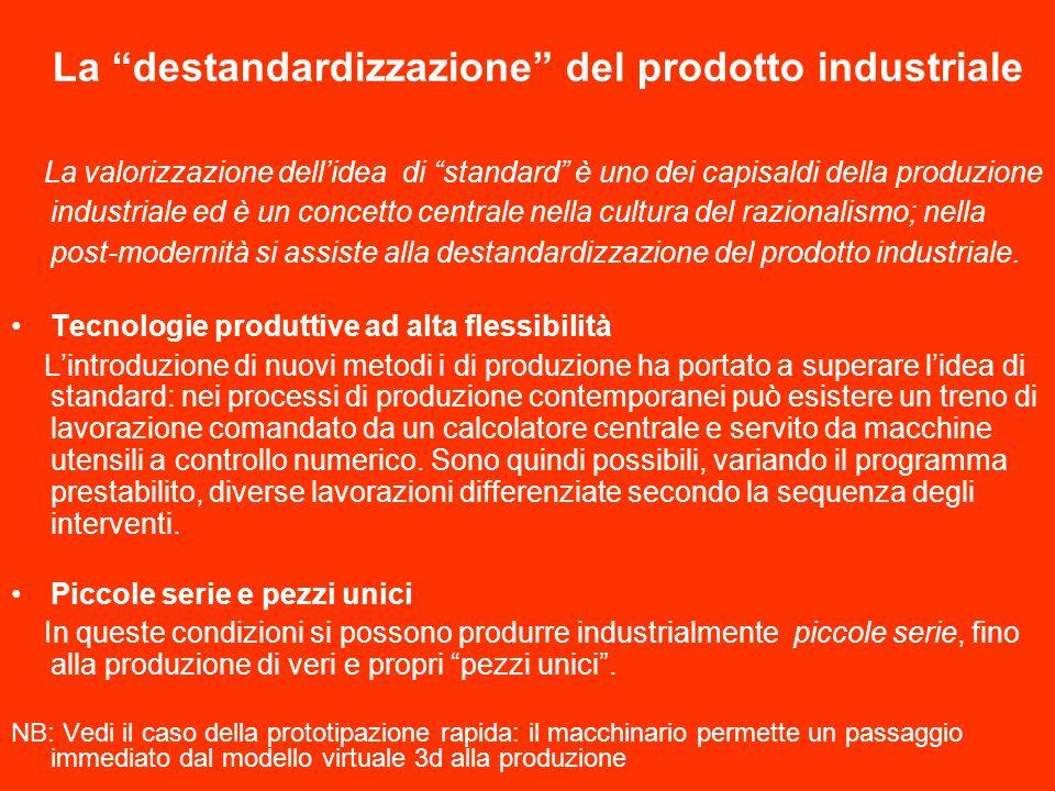 La destandardizzazione del prodotto industriale La valorizzazione dellidea di standard è uno dei capisaldi della produzione industriale ed è un concetto centrale nella cultura del razionalismo; nella post-modernità si assiste alla destandardizzazione del prodotto industriale.