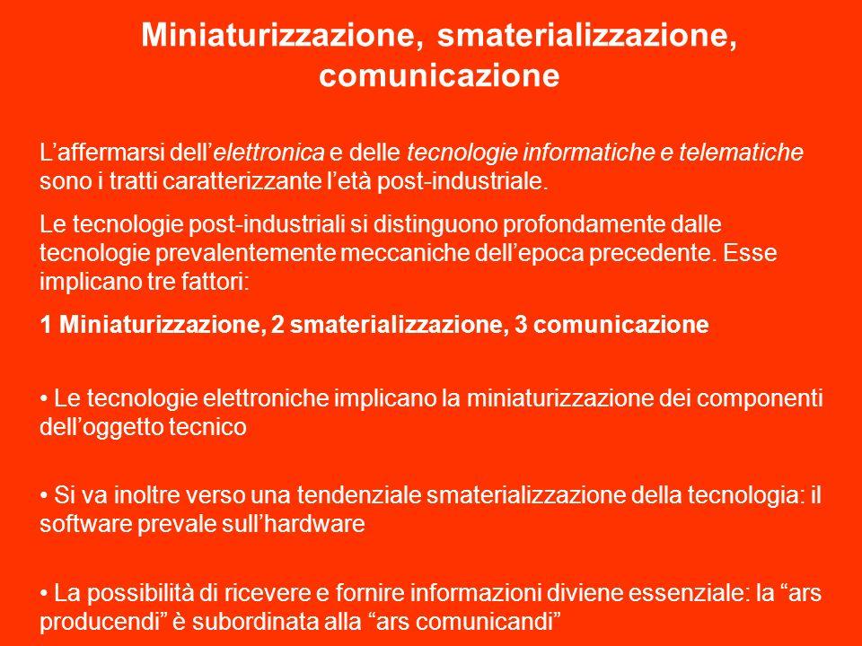 Miniaturizzazione, smaterializzazione, comunicazione Laffermarsi dellelettronica e delle tecnologie informatiche e telematiche sono i tratti caratterizzante letà post-industriale.