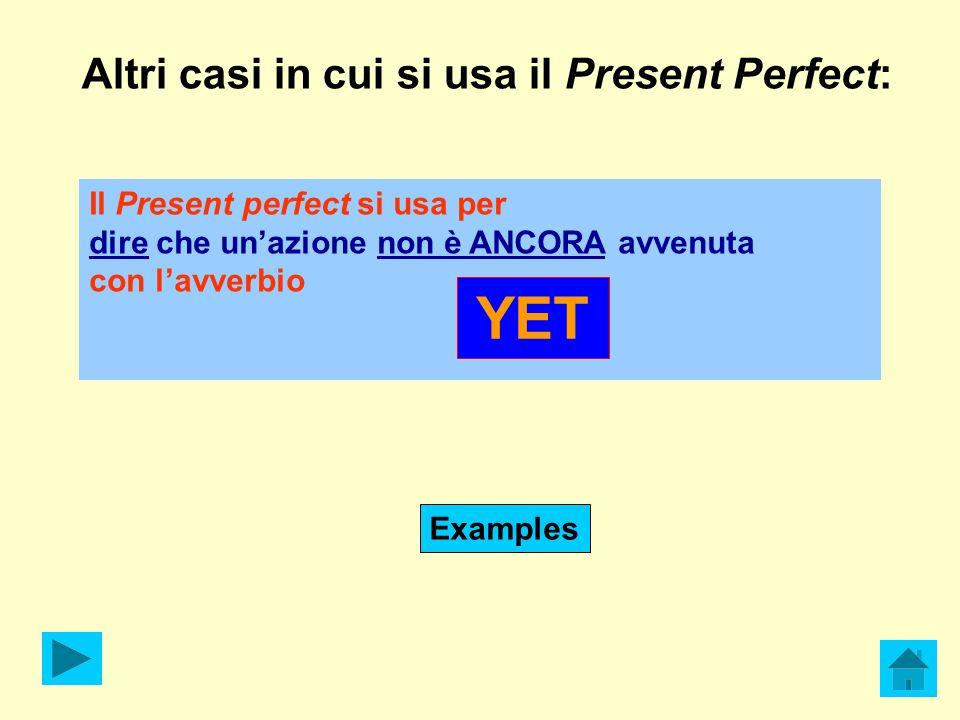 Altri casi in cui si usa il Present Perfect: Il Present perfect si usa per dire che unazione non è ANCORA avvenuta con lavverbio YET Examples