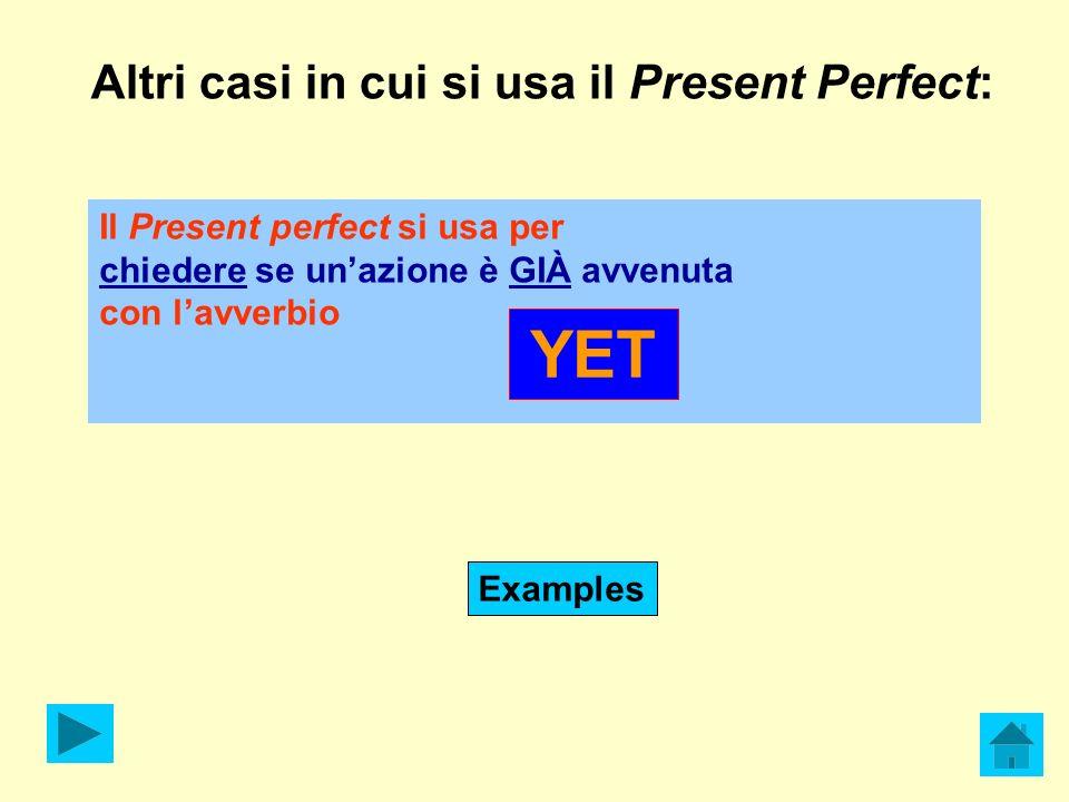 Altri casi in cui si usa il Present Perfect: Il Present perfect si usa per chiedere se unazione è GIÀ avvenuta con lavverbio YET Examples