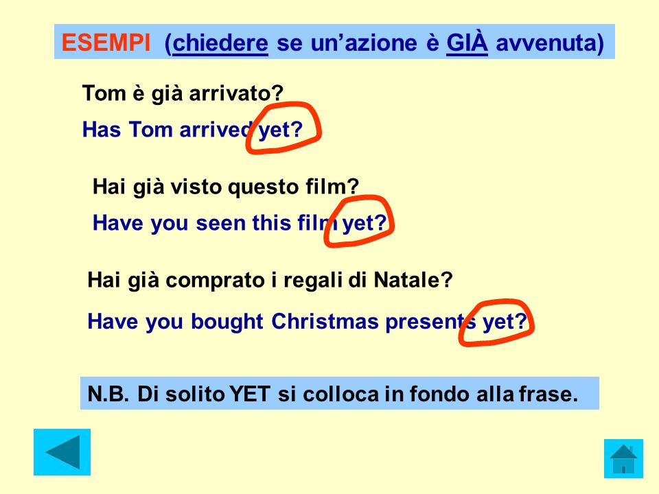 Tom è già arrivato? Has Tom arrived yet? Hai già visto questo film? Hai già comprato i regali di Natale? Have you seen this film yet? Have you bought