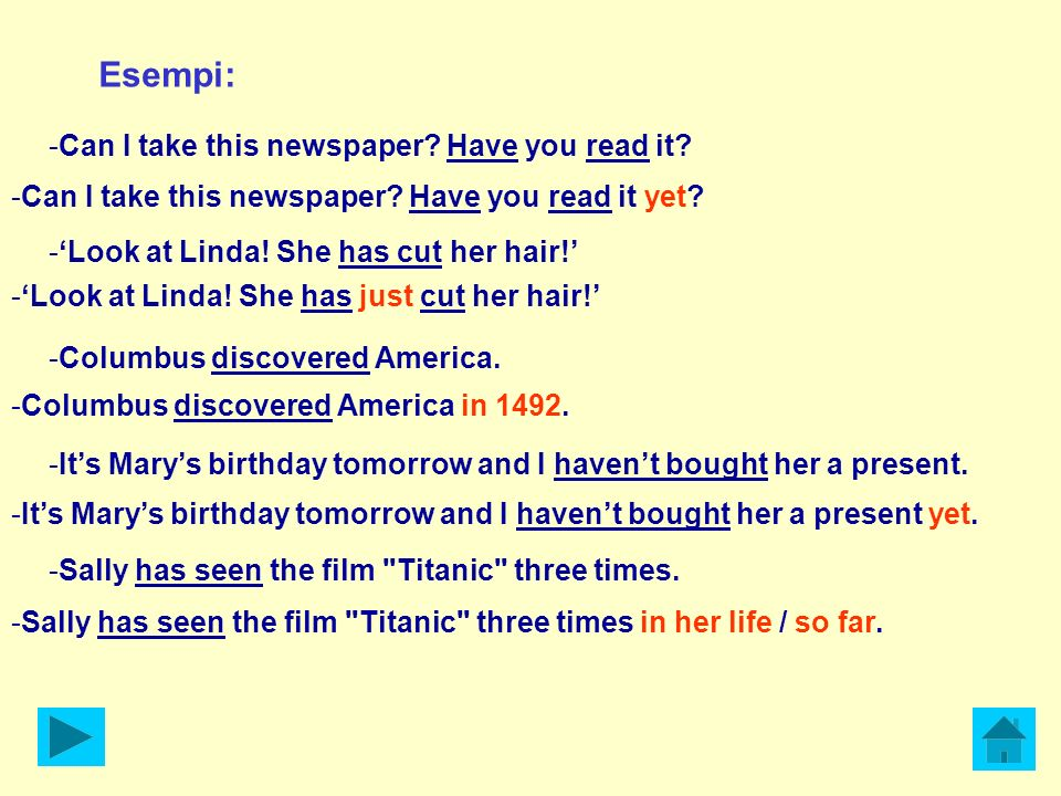 Esempi: -Can I take this newspaper? Have you read it? -Look at Linda! She has cut her hair! -Columbus discovered America. -Its Marys birthday tomorrow