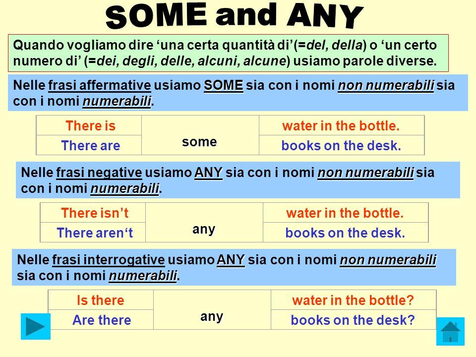 Quando vogliamo dire una certa quantità di(=del, della) o un certo numero di (=dei, degli, delle, alcuni, alcune) usiamo parole diverse. SOMEnon numer
