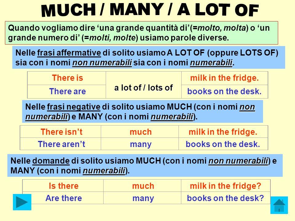 Quando vogliamo dire una grande quantità di(=molto, molta) o un grande numero di (=molti, molte) usiamo parole diverse. non numerabilinumerabili Nelle