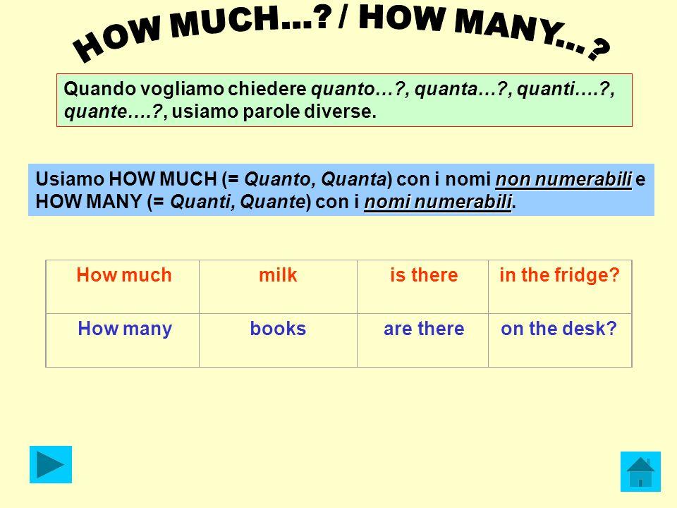 Quando vogliamo chiedere quanto…?, quanta…?, quanti….?, quante….?, usiamo parole diverse. non numerabili nomi numerabili Usiamo HOW MUCH (= Quanto, Qu