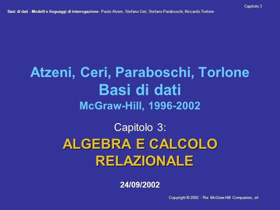 Basi di dati - Modelli e linguaggi di interrogazione- Paolo Atzeni, Stefano Ceri, Stefano Paraboschi, Riccardo Torlone Copyright © 2002 - The McGraw-Hill Companies, srl Capitolo 3 24/09/2002 Esempi Impiegati NomeEtàStipendioMatricola Bianchi37385998 Rossi34457309 Bruni43425698 Neri42359553 Mori45504076 Lupi46608123 Supervisione ImpiegatoCapo 5998 7309 5698 9553 4076 5698 4076 8123