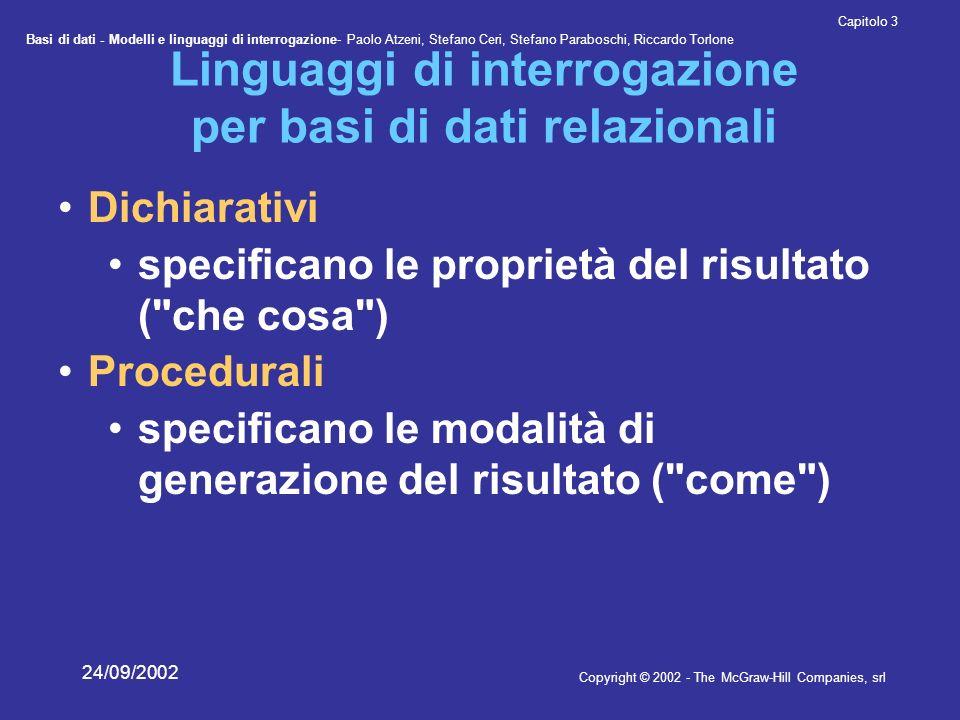Basi di dati - Modelli e linguaggi di interrogazione- Paolo Atzeni, Stefano Ceri, Stefano Paraboschi, Riccardo Torlone Copyright © 2002 - The McGraw-Hill Companies, srl Capitolo 3 24/09/2002 Join e proiezioni R 1 (X 1 ), R 2 (X 2 ) PROJ X 1 (R 1 JOIN R 2 ) R 1 R(X), X = X 1 X 2 (PROJ X 1 (R)) JOIN (PROJ X 2 (R)) R