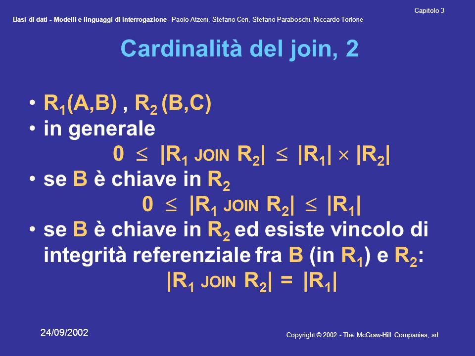Basi di dati - Modelli e linguaggi di interrogazione- Paolo Atzeni, Stefano Ceri, Stefano Paraboschi, Riccardo Torlone Copyright © 2002 - The McGraw-Hill Companies, srl Capitolo 3 24/09/2002 Cardinalità del join, 2 R 1 (A,B), R 2 (B,C) in generale 0 |R 1 JOIN R 2 | |R 1 | |R 2 | se B è chiave in R 2 0 |R 1 JOIN R 2 | |R 1 | se B è chiave in R 2 ed esiste vincolo di integrità referenziale fra B (in R 1 ) e R 2 : |R 1 JOIN R 2 | = |R 1 |