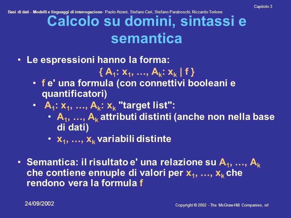 Basi di dati - Modelli e linguaggi di interrogazione- Paolo Atzeni, Stefano Ceri, Stefano Paraboschi, Riccardo Torlone Copyright © 2002 - The McGraw-Hill Companies, srl Capitolo 3 24/09/2002 Calcolo su domini, sintassi e semantica Le espressioni hanno la forma: { A 1 : x 1, …, A k : x k | f } f e una formula (con connettivi booleani e quantificatori) A 1 : x 1, …, A k : x k target list : A 1, …, A k attributi distinti (anche non nella base di dati) x 1, …, x k variabili distinte Semantica: il risultato e una relazione su A 1, …, A k che contiene ennuple di valori per x 1, …, x k che rendono vera la formula f