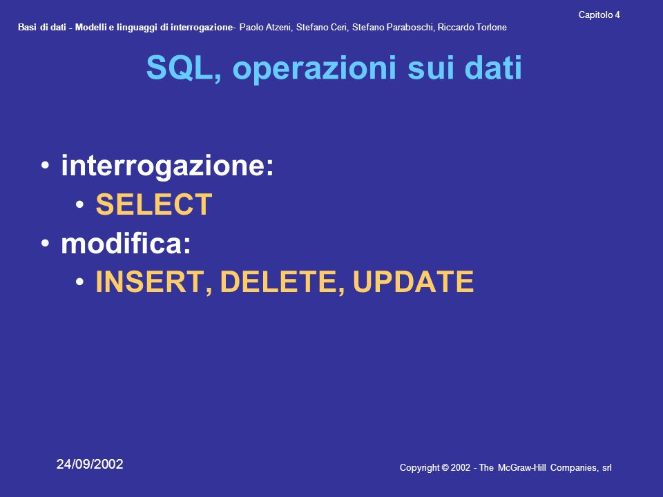 Basi di dati - Modelli e linguaggi di interrogazione- Paolo Atzeni, Stefano Ceri, Stefano Paraboschi, Riccardo Torlone Copyright © 2002 - The McGraw-Hill Companies, srl Capitolo 4 24/09/2002 SQL, operazioni sui dati interrogazione: SELECT modifica: INSERT, DELETE, UPDATE