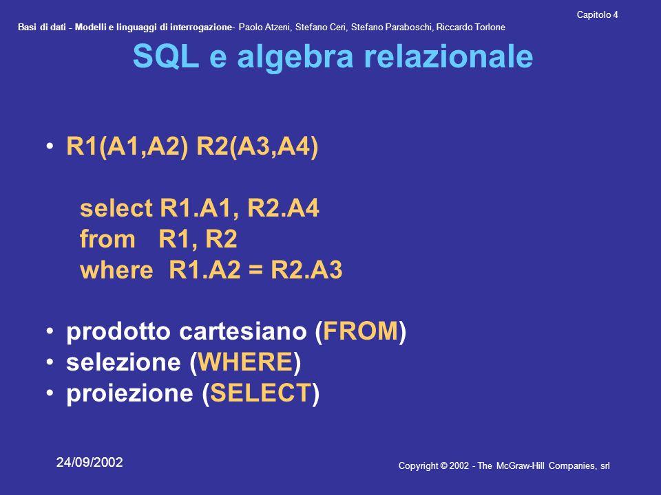 Basi di dati - Modelli e linguaggi di interrogazione- Paolo Atzeni, Stefano Ceri, Stefano Paraboschi, Riccardo Torlone Copyright © 2002 - The McGraw-Hill Companies, srl Capitolo 4 24/09/2002 SQL e algebra relazionale R1(A1,A2) R2(A3,A4) select R1.A1, R2.A4 from R1, R2 where R1.A2 = R2.A3 prodotto cartesiano (FROM) selezione (WHERE) proiezione (SELECT)