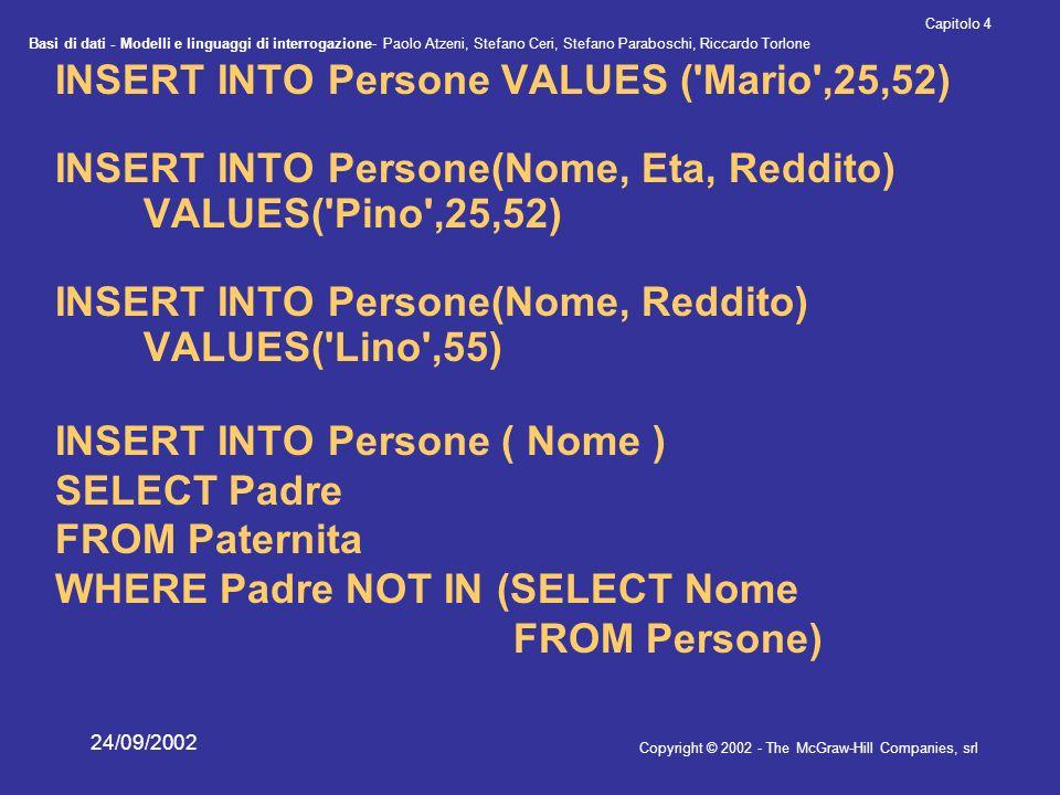 Basi di dati - Modelli e linguaggi di interrogazione- Paolo Atzeni, Stefano Ceri, Stefano Paraboschi, Riccardo Torlone Copyright © 2002 - The McGraw-Hill Companies, srl Capitolo 4 24/09/2002 INSERT INTO Persone VALUES ( Mario ,25,52) INSERT INTO Persone(Nome, Eta, Reddito) VALUES( Pino ,25,52) INSERT INTO Persone(Nome, Reddito) VALUES( Lino ,55) INSERT INTO Persone ( Nome ) SELECT Padre FROM Paternita WHERE Padre NOT IN (SELECT Nome FROM Persone)