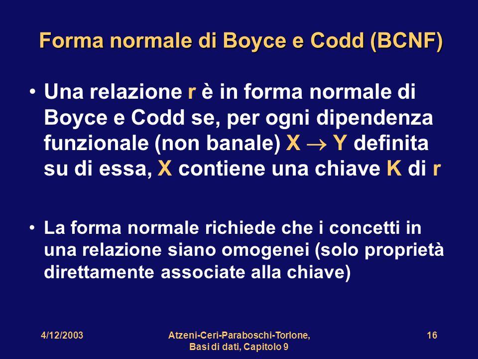4/12/2003Atzeni-Ceri-Paraboschi-Torlone, Basi di dati, Capitolo 9 17 Che facciamo se una relazione non soddisfa la BCNF.