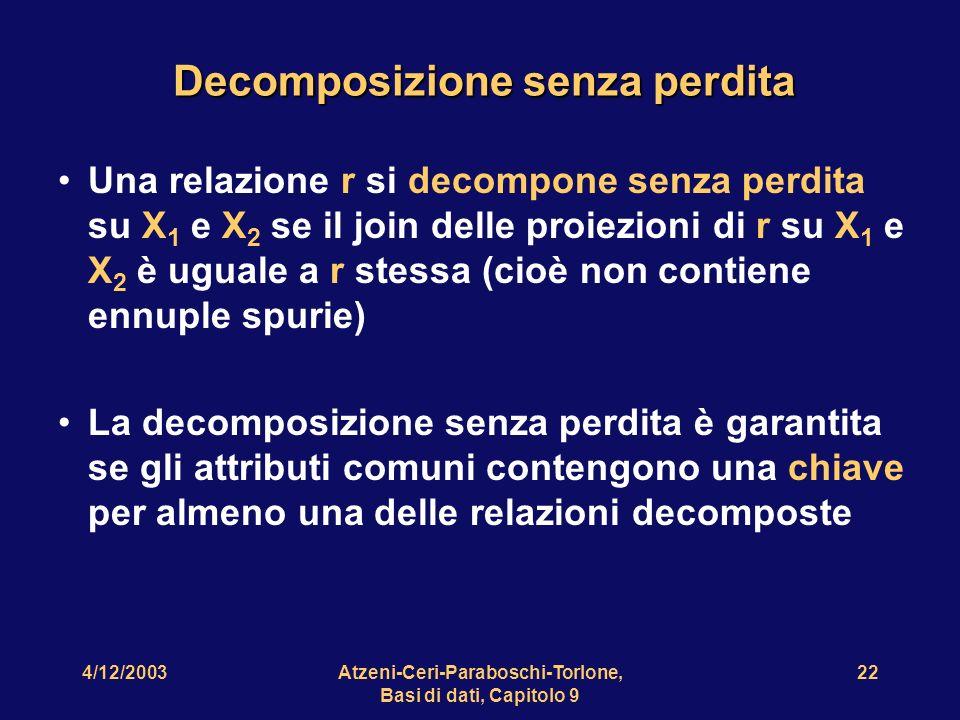 4/12/2003Atzeni-Ceri-Paraboschi-Torlone, Basi di dati, Capitolo 9 23 Proviamo a decomporre senza perdita Impiegato Sede Progetto Sede