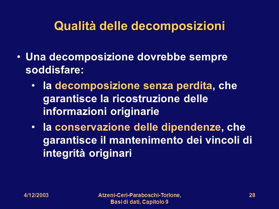 4/12/2003Atzeni-Ceri-Paraboschi-Torlone, Basi di dati, Capitolo 9 29 Una relazione non normalizzata Progetto Sede Dirigente Dirigente Sede