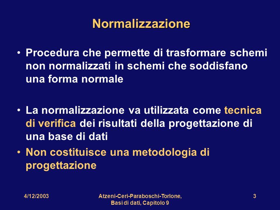 4/12/2003Atzeni-Ceri-Paraboschi-Torlone, Basi di dati, Capitolo 9 4 Una relazione con anomalie