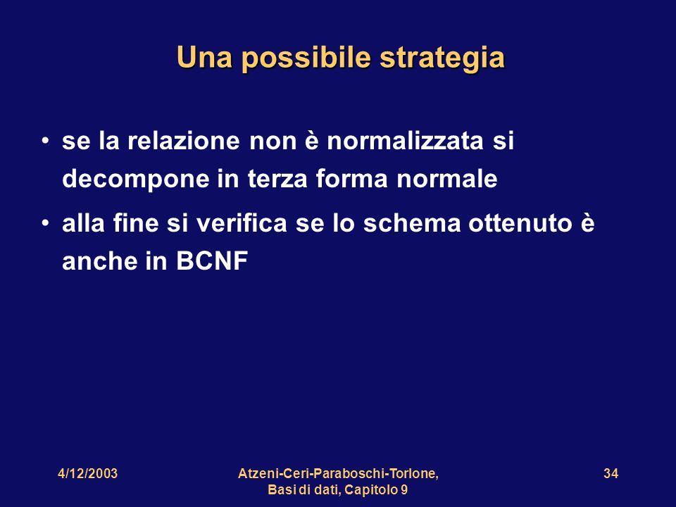 4/12/2003Atzeni-Ceri-Paraboschi-Torlone, Basi di dati, Capitolo 9 35 Uno schema non decomponibile in BCNF Dirigente Sede Progetto Sede Dirigente