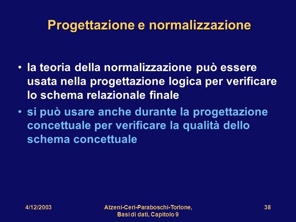 4/12/2003Atzeni-Ceri-Paraboschi-Torlone, Basi di dati, Capitolo 9 39 Prodotto Nome prodotto Prezzo Nome fornitore Indirizzo Partita IVA Codice PartitaIVA NomeFornitore Indirizzo