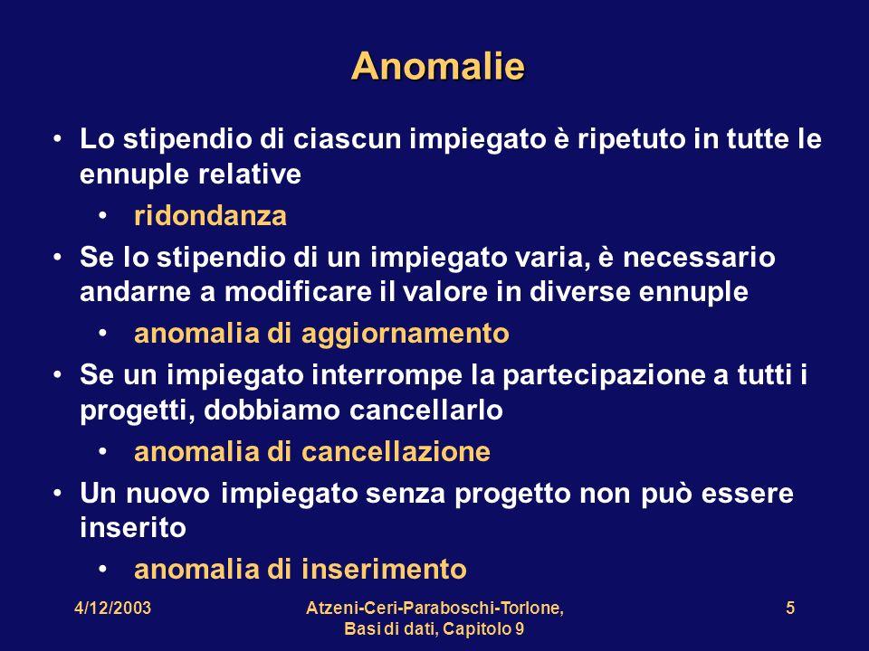 4/12/2003Atzeni-Ceri-Paraboschi-Torlone, Basi di dati, Capitolo 9 6 Perché questi fenomeni indesiderabili.