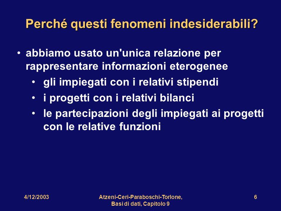 4/12/2003Atzeni-Ceri-Paraboschi-Torlone, Basi di dati, Capitolo 9 7 Per studiare in maniera sistematica questi aspetti, è necessario introdurre un vincolo di integrità: la dipendenza funzionale