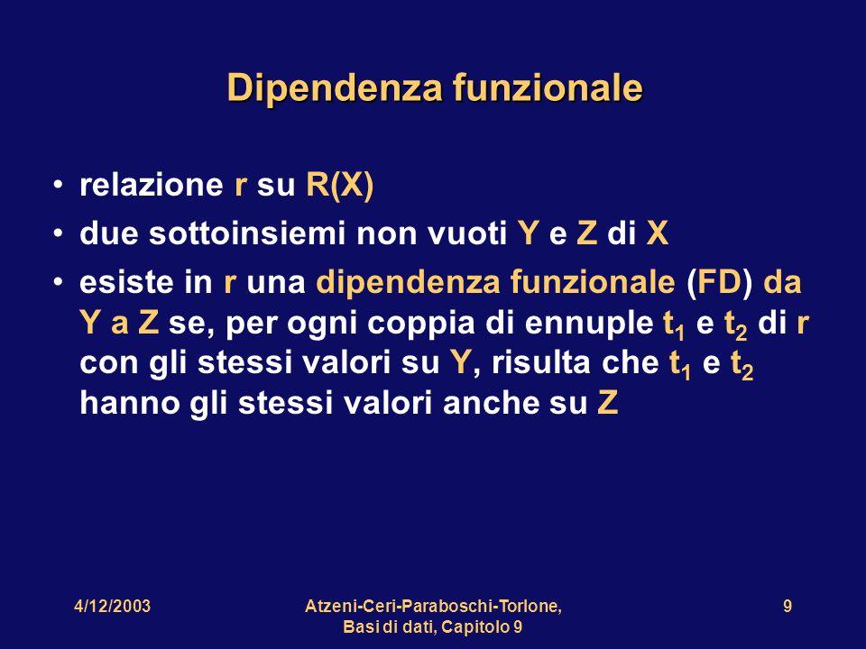 4/12/2003Atzeni-Ceri-Paraboschi-Torlone, Basi di dati, Capitolo 9 10 Notazione Y Z Esempi: Impiegato Stipendio Progetto Bilancio Impiegato Progetto Funzione
