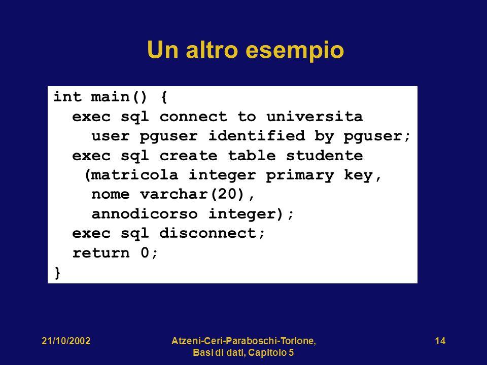 21/10/2002Atzeni-Ceri-Paraboschi-Torlone, Basi di dati, Capitolo 5 14 Un altro esempio int main() { exec sql connect to universita user pguser identified by pguser; exec sql create table studente (matricola integer primary key, nome varchar(20), annodicorso integer); exec sql disconnect; return 0; }