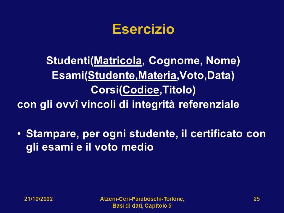 21/10/2002Atzeni-Ceri-Paraboschi-Torlone, Basi di dati, Capitolo 5 25 Esercizio Studenti(Matricola, Cognome, Nome) Esami(Studente,Materia,Voto,Data) Corsi(Codice,Titolo) con gli ovvî vincoli di integrità referenziale Stampare, per ogni studente, il certificato con gli esami e il voto medio