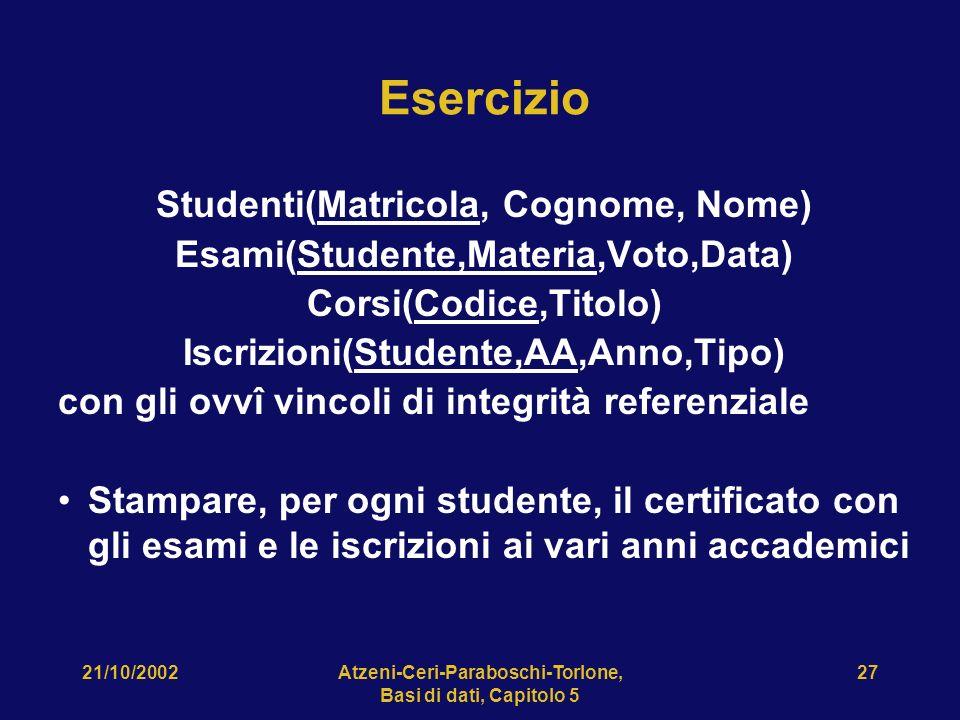 21/10/2002Atzeni-Ceri-Paraboschi-Torlone, Basi di dati, Capitolo 5 27 Esercizio Studenti(Matricola, Cognome, Nome) Esami(Studente,Materia,Voto,Data) Corsi(Codice,Titolo) Iscrizioni(Studente,AA,Anno,Tipo) con gli ovvî vincoli di integrità referenziale Stampare, per ogni studente, il certificato con gli esami e le iscrizioni ai vari anni accademici
