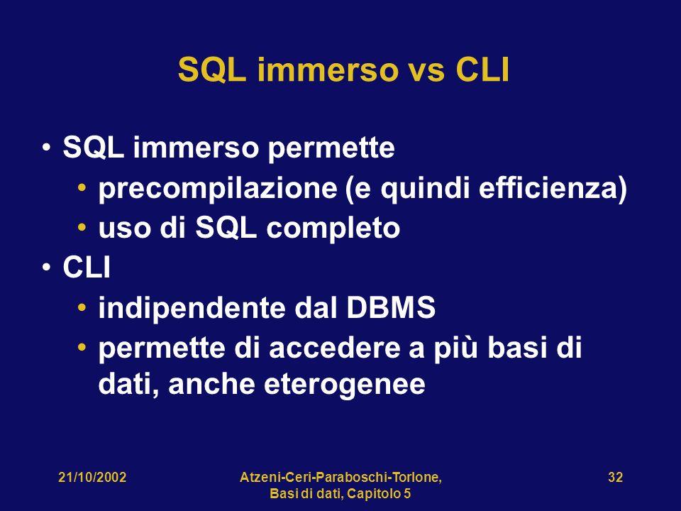 21/10/2002Atzeni-Ceri-Paraboschi-Torlone, Basi di dati, Capitolo 5 32 SQL immerso vs CLI SQL immerso permette precompilazione (e quindi efficienza) uso di SQL completo CLI indipendente dal DBMS permette di accedere a più basi di dati, anche eterogenee