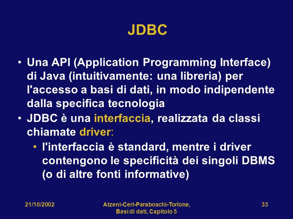 21/10/2002Atzeni-Ceri-Paraboschi-Torlone, Basi di dati, Capitolo 5 33 JDBC Una API (Application Programming Interface) di Java (intuitivamente: una libreria) per l accesso a basi di dati, in modo indipendente dalla specifica tecnologia JDBC è una interfaccia, realizzata da classi chiamate driver: l interfaccia è standard, mentre i driver contengono le specificità dei singoli DBMS (o di altre fonti informative)