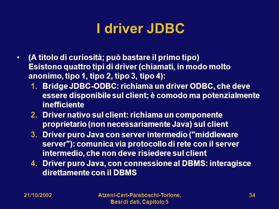 21/10/2002Atzeni-Ceri-Paraboschi-Torlone, Basi di dati, Capitolo 5 34 I driver JDBC (A titolo di curiosità; può bastare il primo tipo) Esistono quattro tipi di driver (chiamati, in modo molto anonimo, tipo 1, tipo 2, tipo 3, tipo 4): 1.Bridge JDBC-ODBC: richiama un driver ODBC, che deve essere disponibile sul client; è comodo ma potenzialmente inefficiente 2.Driver nativo sul client: richiama un componente proprietario (non necessariamente Java) sul client 3.Driver puro Java con server intermedio ( middleware server ): comunica via protocollo di rete con il server intermedio, che non deve risiedere sul client 4.Driver puro Java, con connessione al DBMS: interagisce direttamente con il DBMS