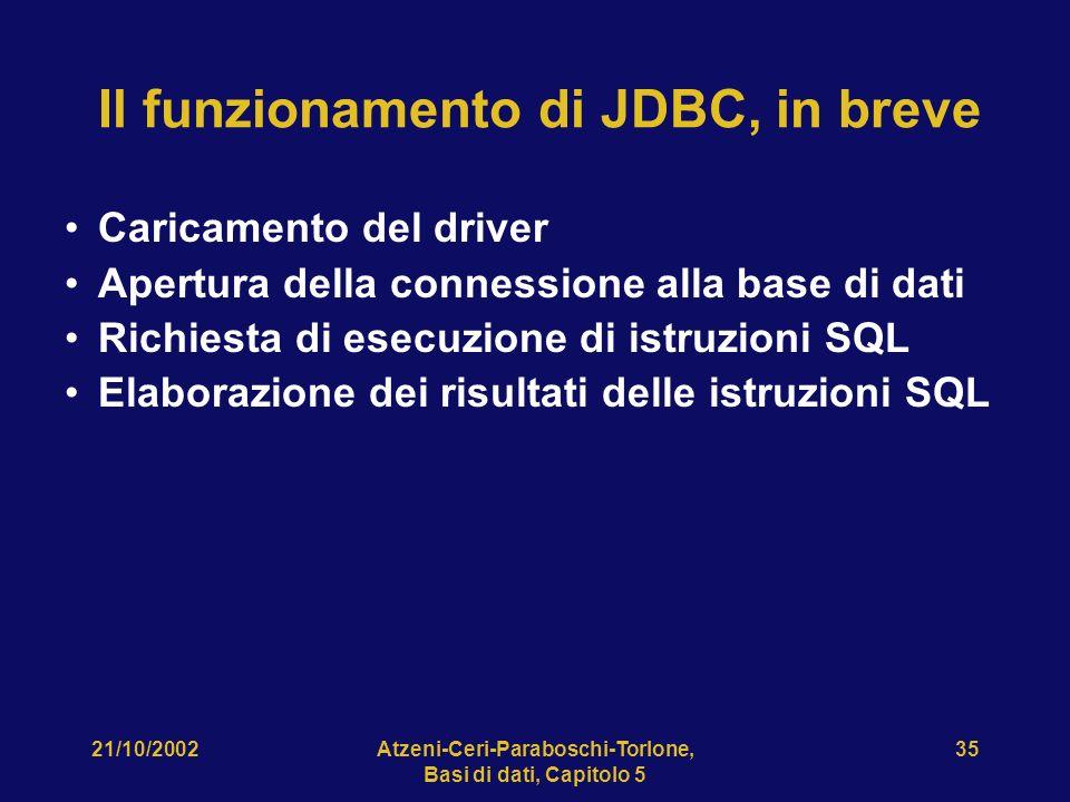 21/10/2002Atzeni-Ceri-Paraboschi-Torlone, Basi di dati, Capitolo 5 35 Il funzionamento di JDBC, in breve Caricamento del driver Apertura della connessione alla base di dati Richiesta di esecuzione di istruzioni SQL Elaborazione dei risultati delle istruzioni SQL