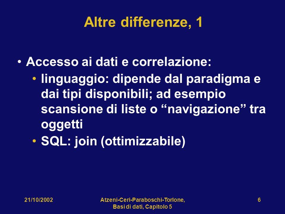 21/10/2002Atzeni-Ceri-Paraboschi-Torlone, Basi di dati, Capitolo 5 6 Altre differenze, 1 Accesso ai dati e correlazione: linguaggio: dipende dal paradigma e dai tipi disponibili; ad esempio scansione di liste o navigazione tra oggetti SQL: join (ottimizzabile)
