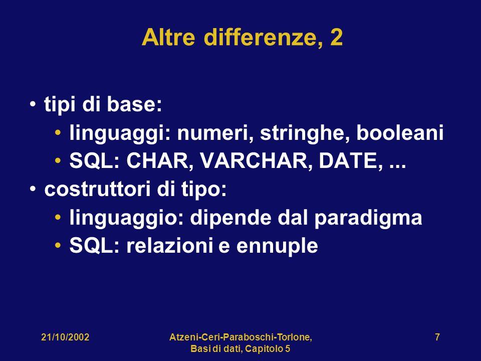 21/10/2002Atzeni-Ceri-Paraboschi-Torlone, Basi di dati, Capitolo 5 7 Altre differenze, 2 tipi di base: linguaggi: numeri, stringhe, booleani SQL: CHAR, VARCHAR, DATE,...