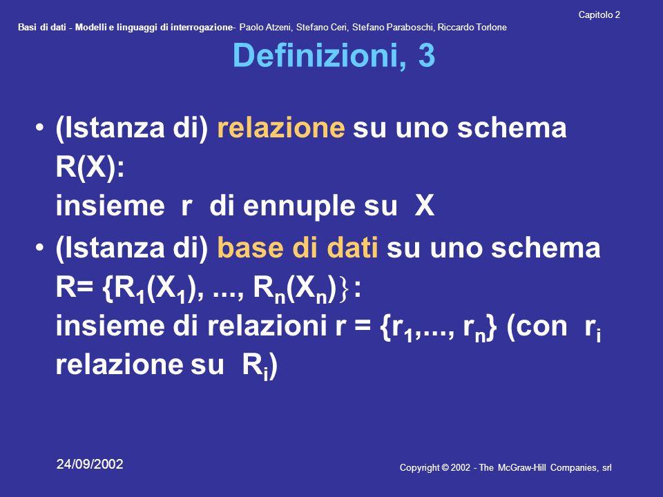 Basi di dati - Modelli e linguaggi di interrogazione- Paolo Atzeni, Stefano Ceri, Stefano Paraboschi, Riccardo Torlone Copyright © 2002 - The McGraw-Hill Companies, srl Capitolo 2 24/09/2002 Definizioni, 3 (Istanza di) relazione su uno schema R(X): insieme r di ennuple su X (Istanza di) base di dati su uno schema R= {R 1 (X 1 ),..., R n (X n ) : insieme di relazioni r = {r 1,..., r n } (con r i relazione su R i )