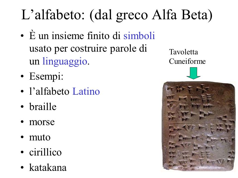 Lalfabeto: (dal greco Alfa Beta) È un insieme finito di simboli usato per costruire parole di un linguaggio. Esempi: lalfabeto Latino braille morse mu