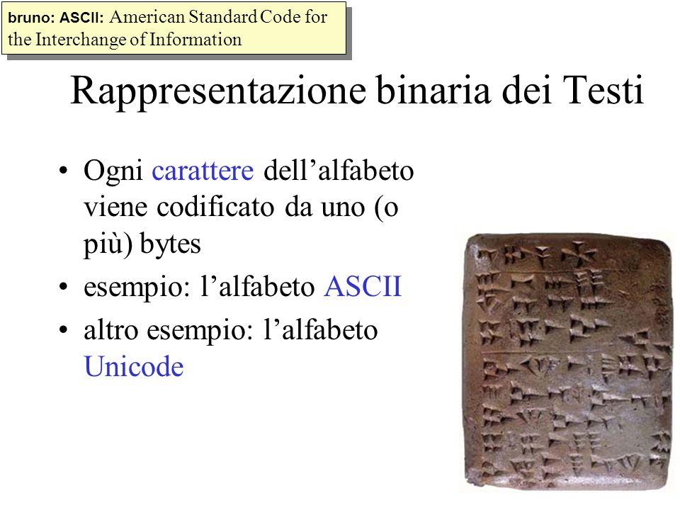 Rappresentazione binaria dei Testi Ogni carattere dellalfabeto viene codificato da uno (o più) bytes esempio: lalfabeto ASCII altro esempio: lalfabeto
